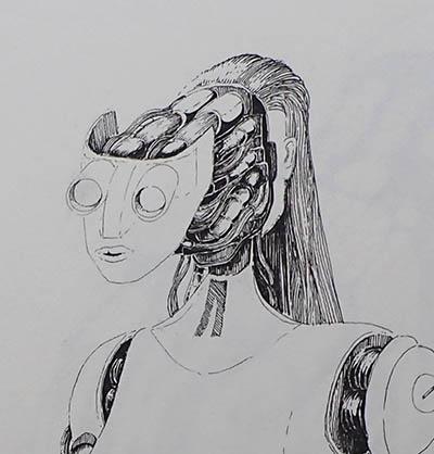 female robot split head