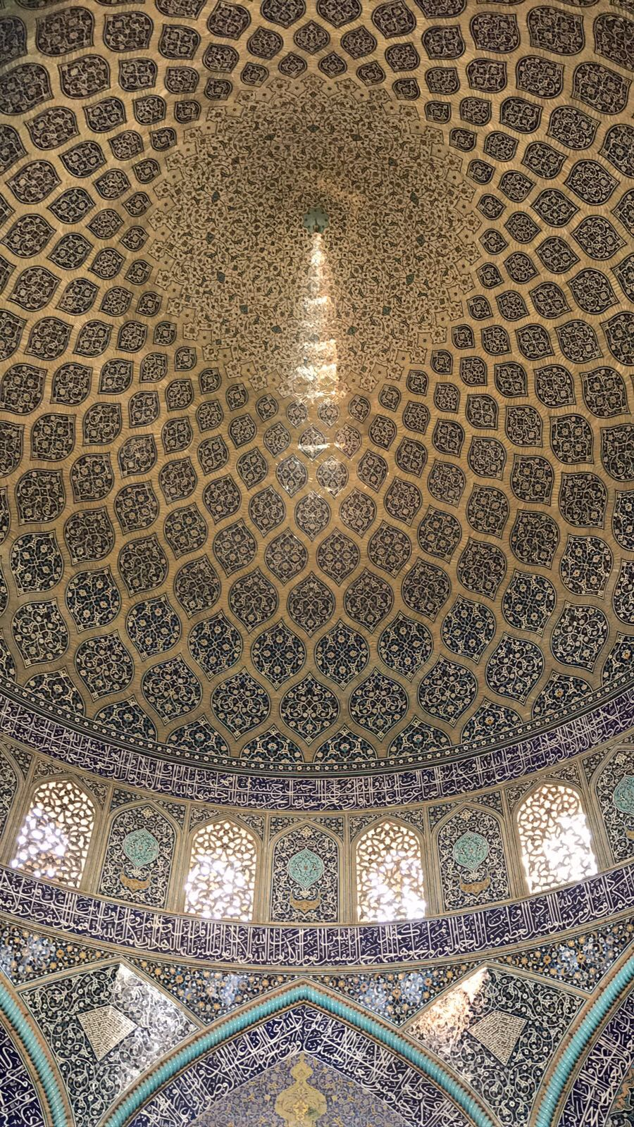 Interior of the dome of the Sheikh Lotfollah Mosque, Isfahan