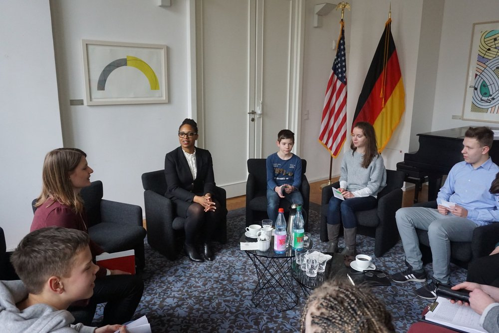 Interviewed by German students at the U.S. Consulate Leipzig on U.S. culture and politics and my study abroad years in Germany. Learn more:  U.S. Embassy Berlin's Black History Month Tour, February 2018 .