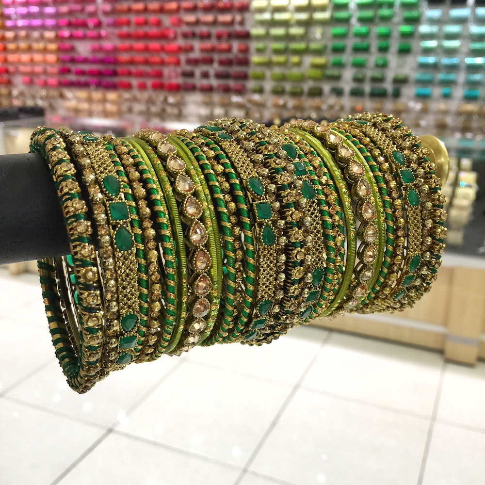 Green thread bangle set for a bride