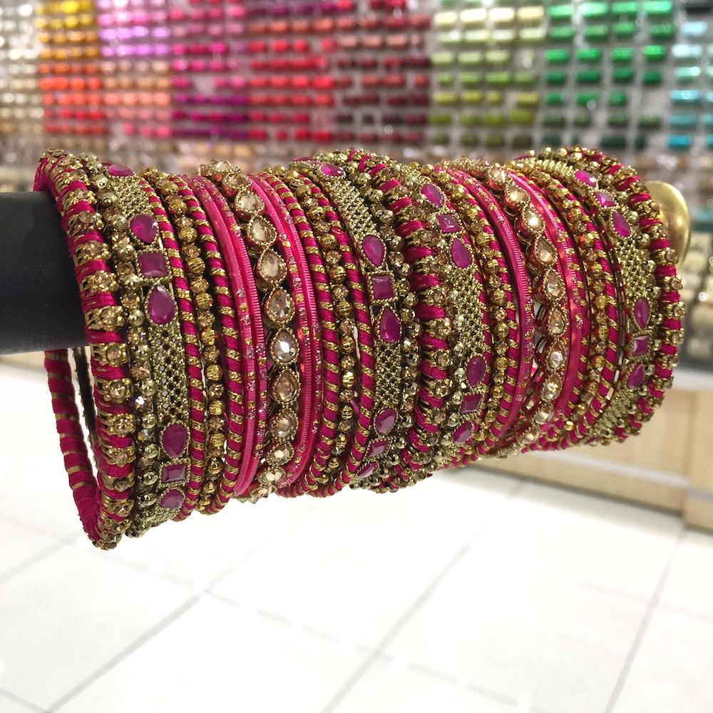 Fuchsia pink thread bangle set for bride
