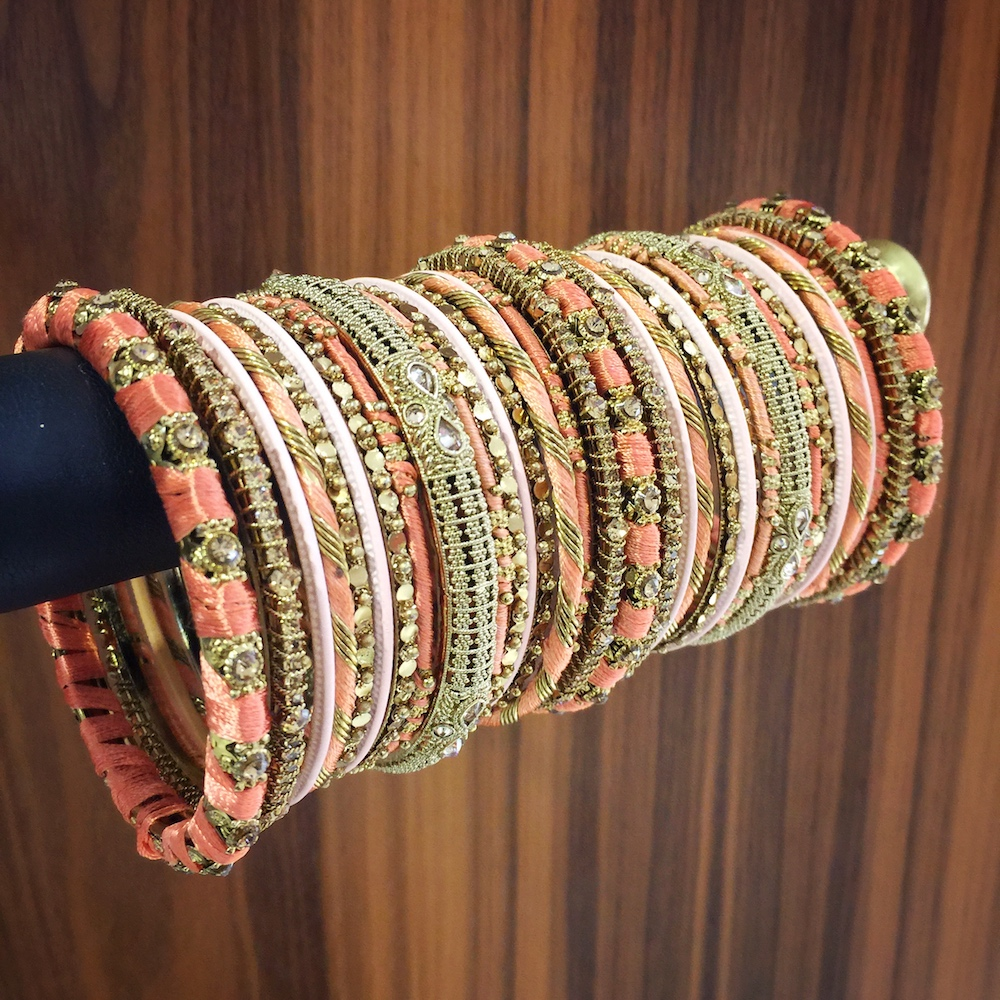 Peach thread bangle set
