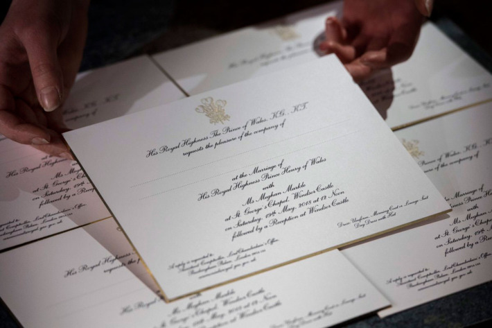 The invitation to Meghan Markle & Prince Harry's wedding, photo via Kensington Royal Twitter account.