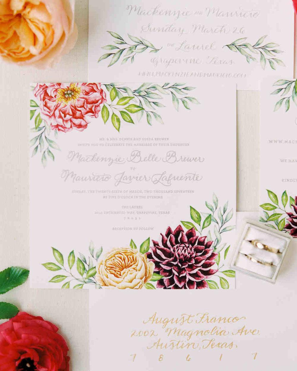 Flower themed invitation for a spring wedding by Alex Leigh Franklin via  Martha Stewart Weddings .