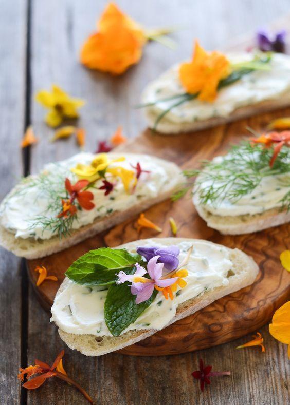 Cream cheese with edible flowers appetizers via  Weddingomania .