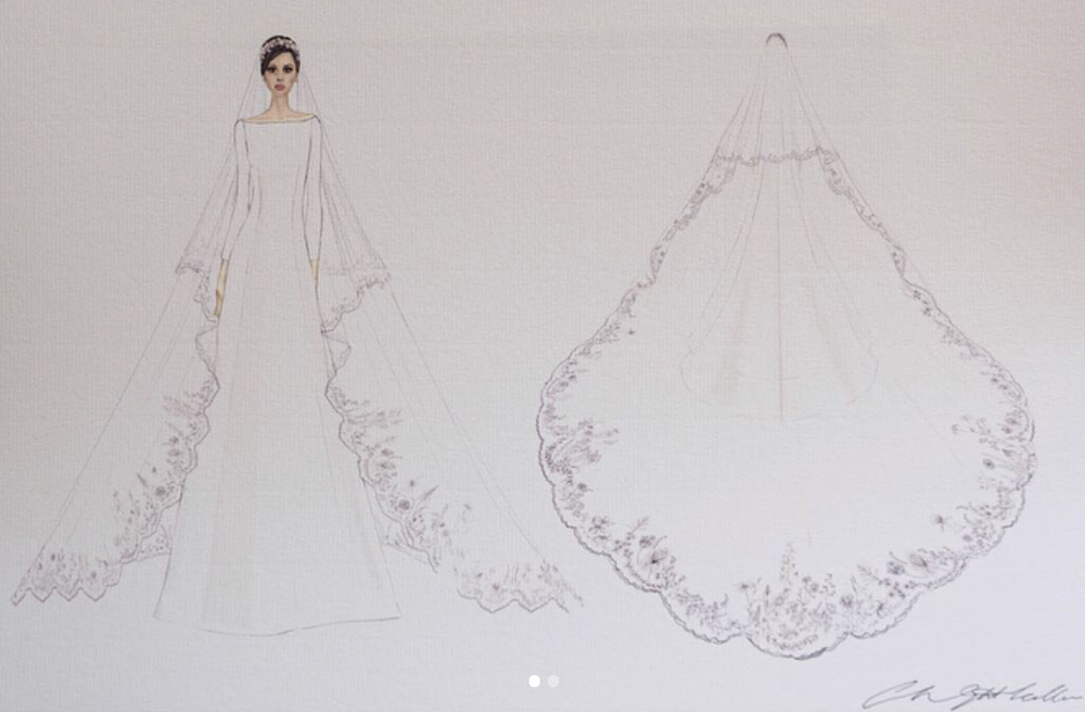 Sketches of The Duchess of Sussex's #RoyalWedding dress, designed by Clare Waight Keller via Kensington Palace on  Instagram (@KensingtonRoyal)