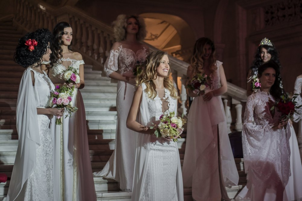 Photo of beautiful Fashion by Laina wedding dresses on the catwalk at Mariage Fest, Romania.