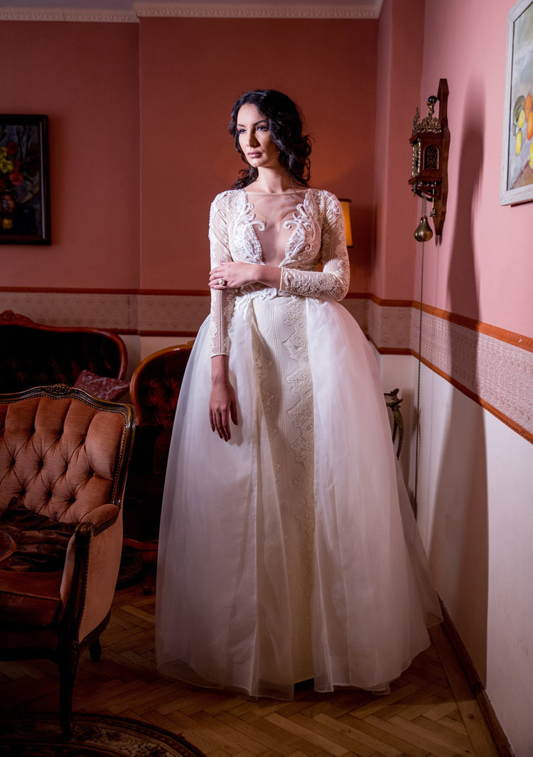 Iris , front view, Fashion by Laina bridal collection