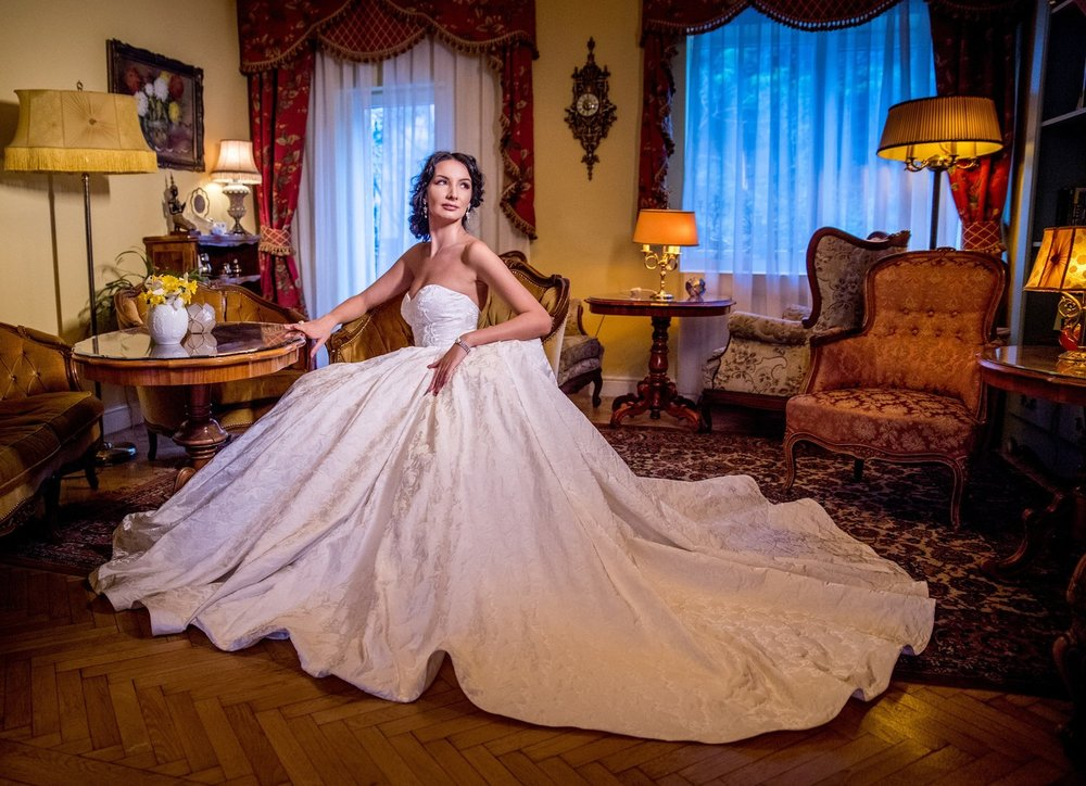 Featured:  Amaryllis , brocade ball gown wedding dress