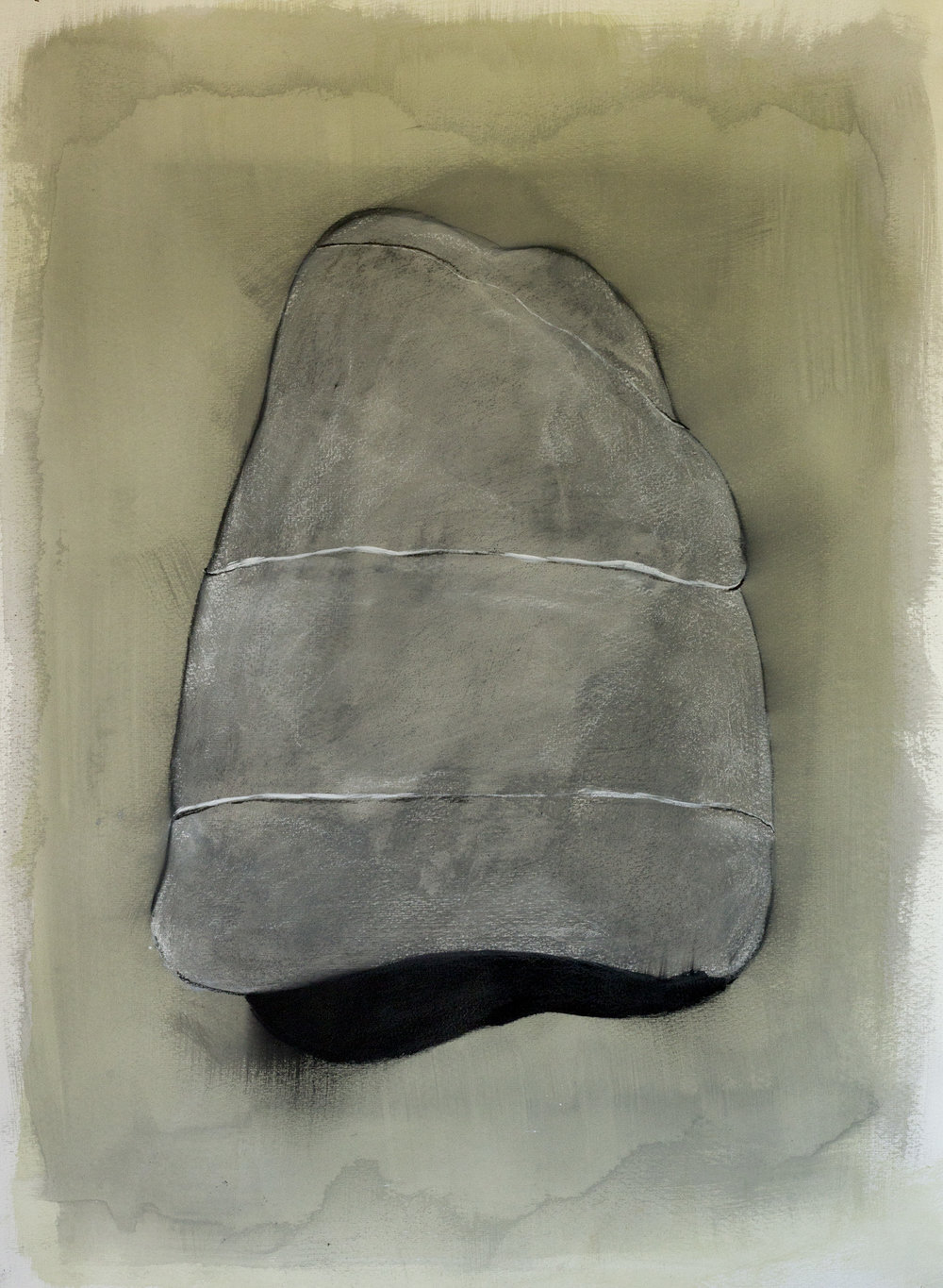 "Rock Drawing, ©Jennifer Moller, 20"" x 27,"" gouache, gesso, pencil, charcoal, on paper"