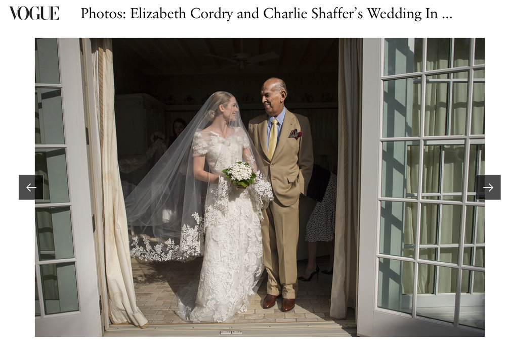 Elizabeth & Charlie - When Elizabeth Cordry married Anna Wintour's son Carlie Shaffer at Anna's estate, Oscar de le Renta dressed the bride and we took the pictures. Find that story here in Vogue.