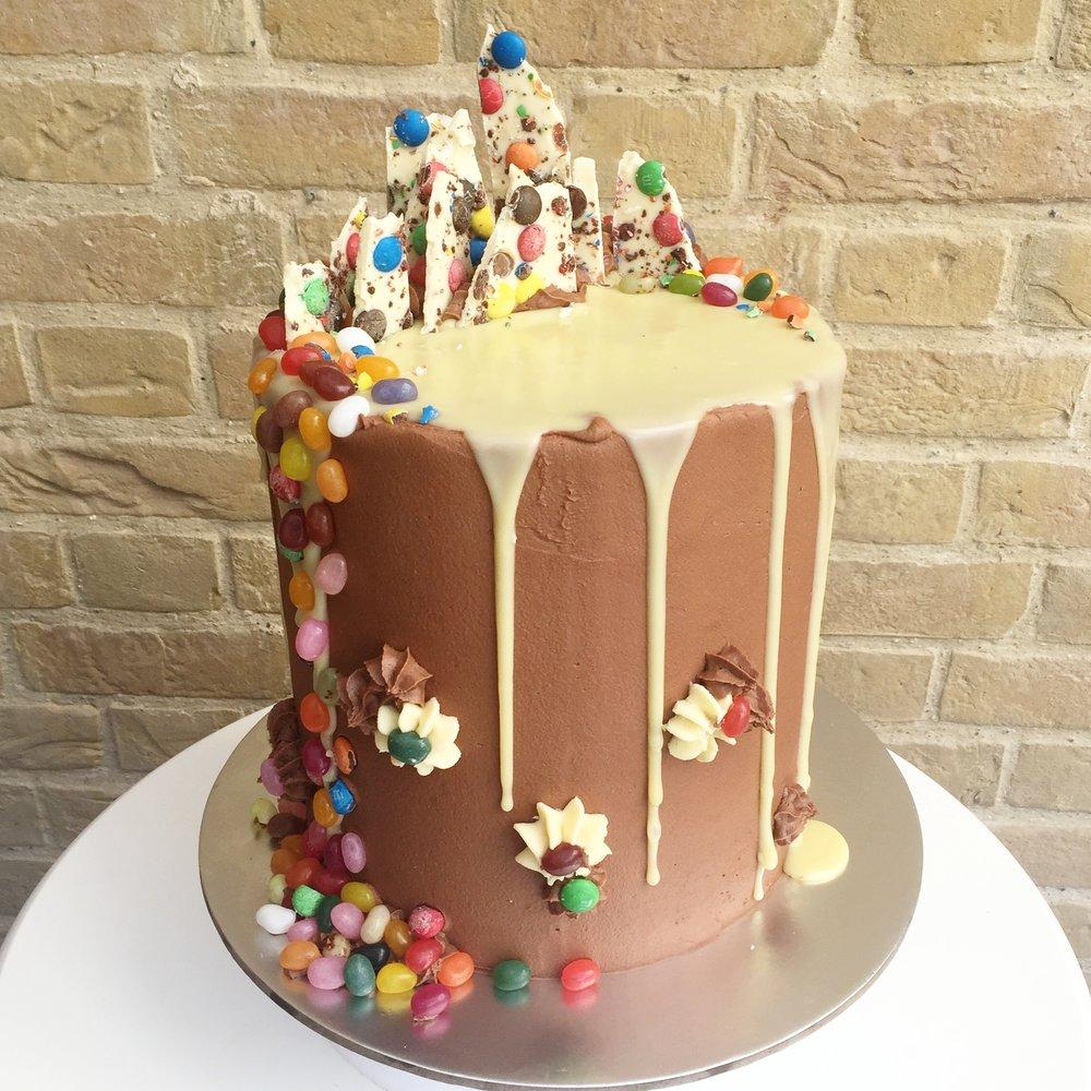 Jellybean factory and M&M bespoke drip cake in Norfolk