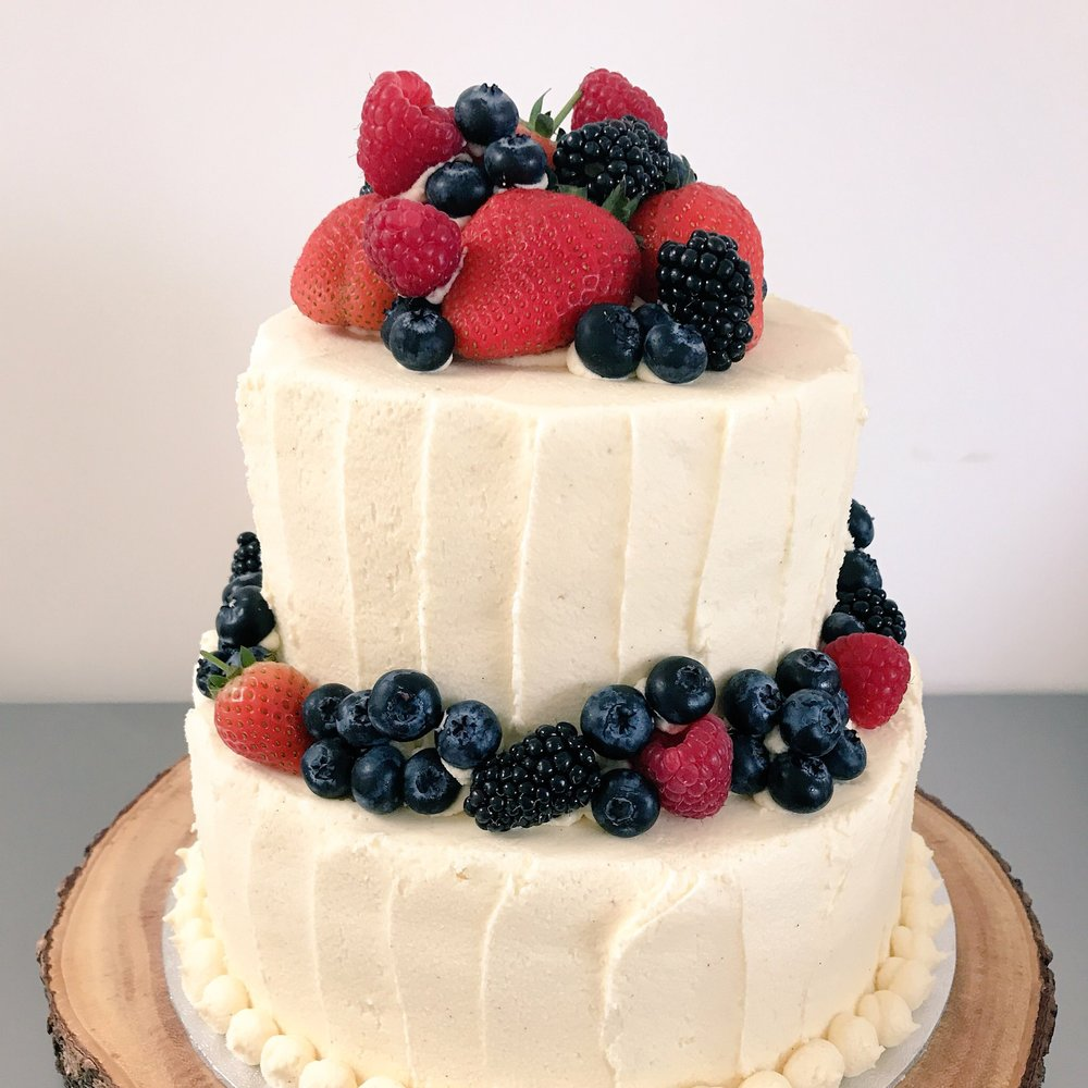 Fresh fruit wedding cake in Norfolk