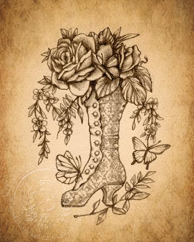 Velvet Blossoms - Sepia
