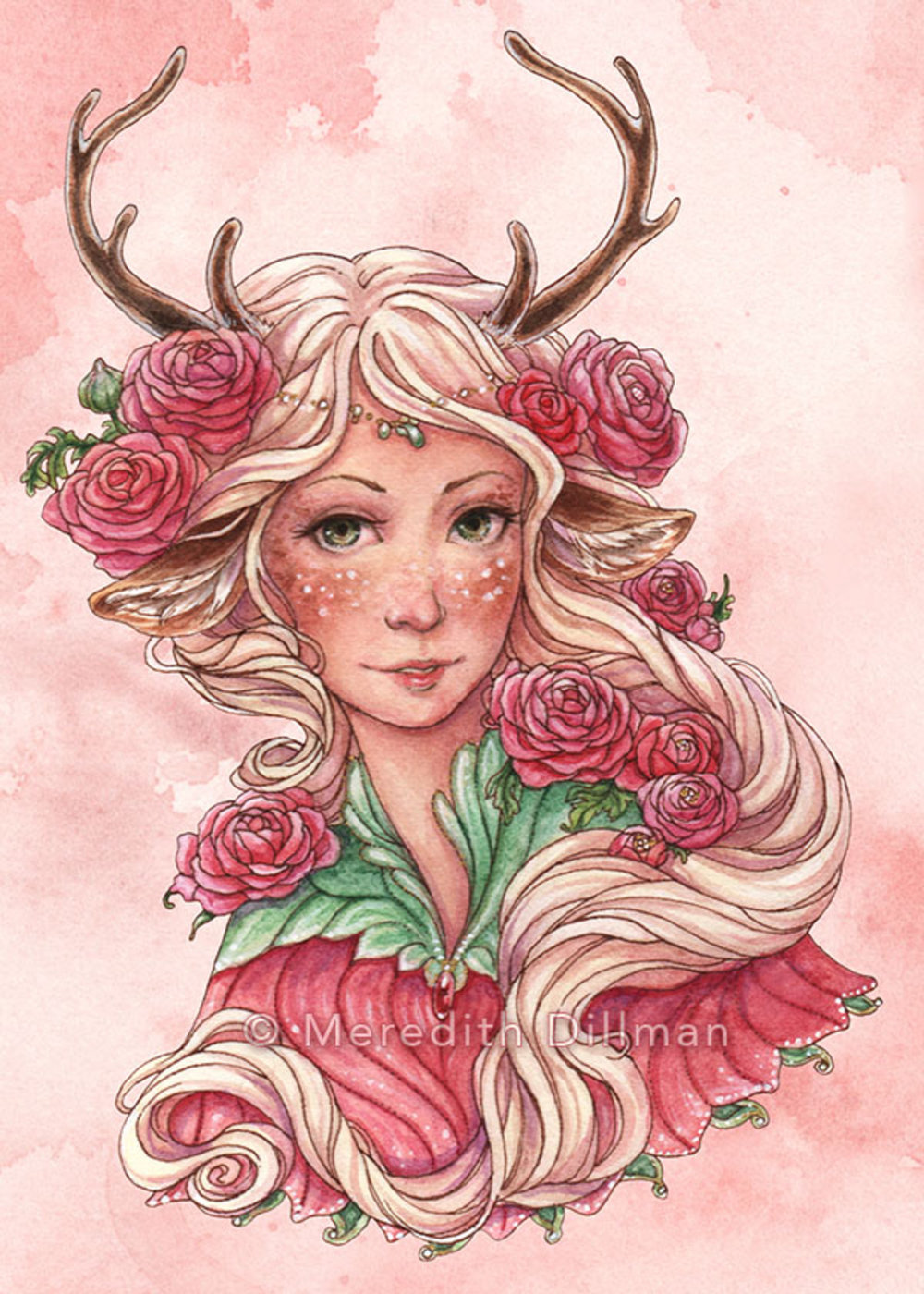 Faun With Pink Flowers