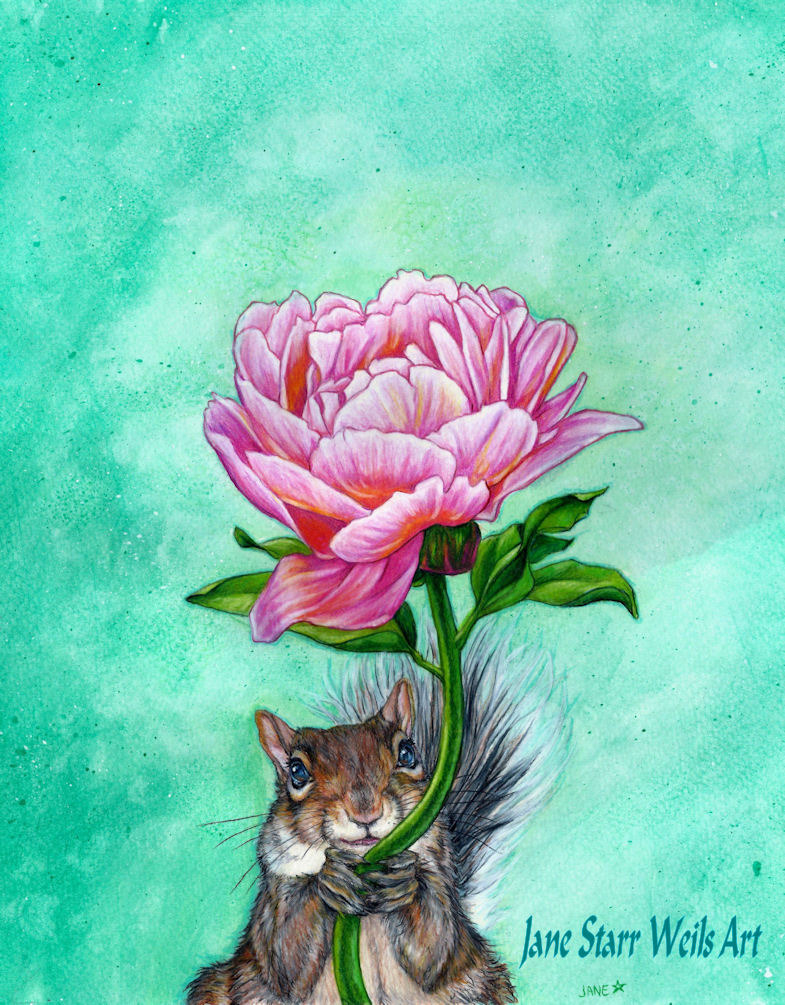 Squirrel Presenting Peony