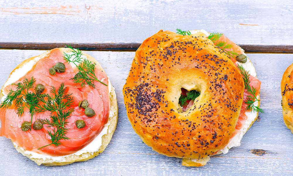 Salmon Lox Bagels from Kupel's Bakery in Brookline, MA