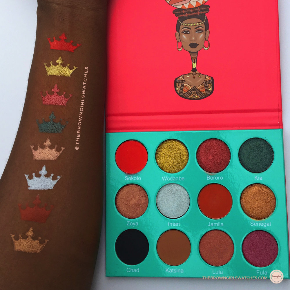 Swatches of the Saharan Palette on Brown Skin