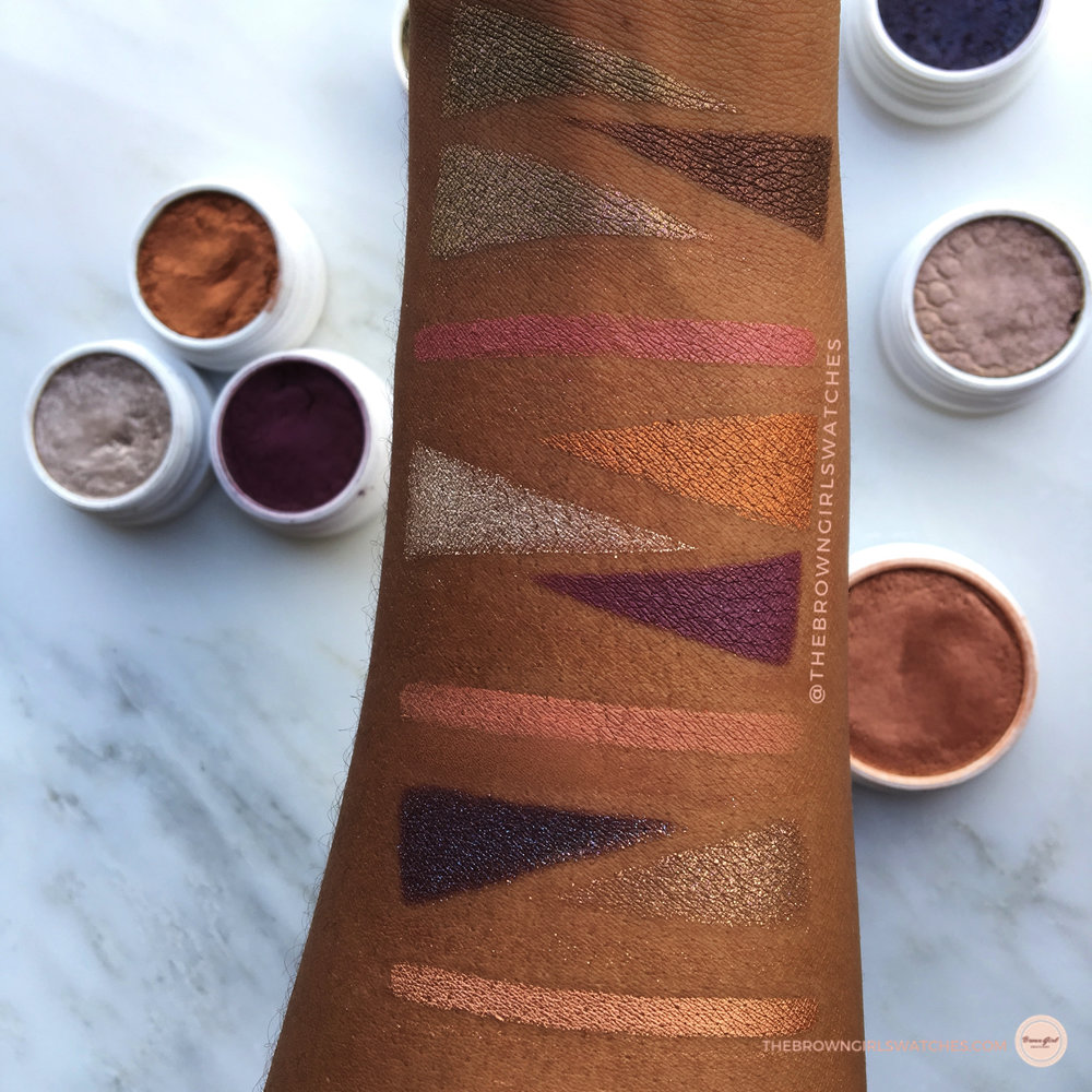 Swatches on Brown Skin:HAMMERED, MOONING, SO QUICHE, CHEERIO, GAMEFACE, I HEART THIS, MOONING, FLUSH'D, BAE, NILLIONAIRE, and AVALON.