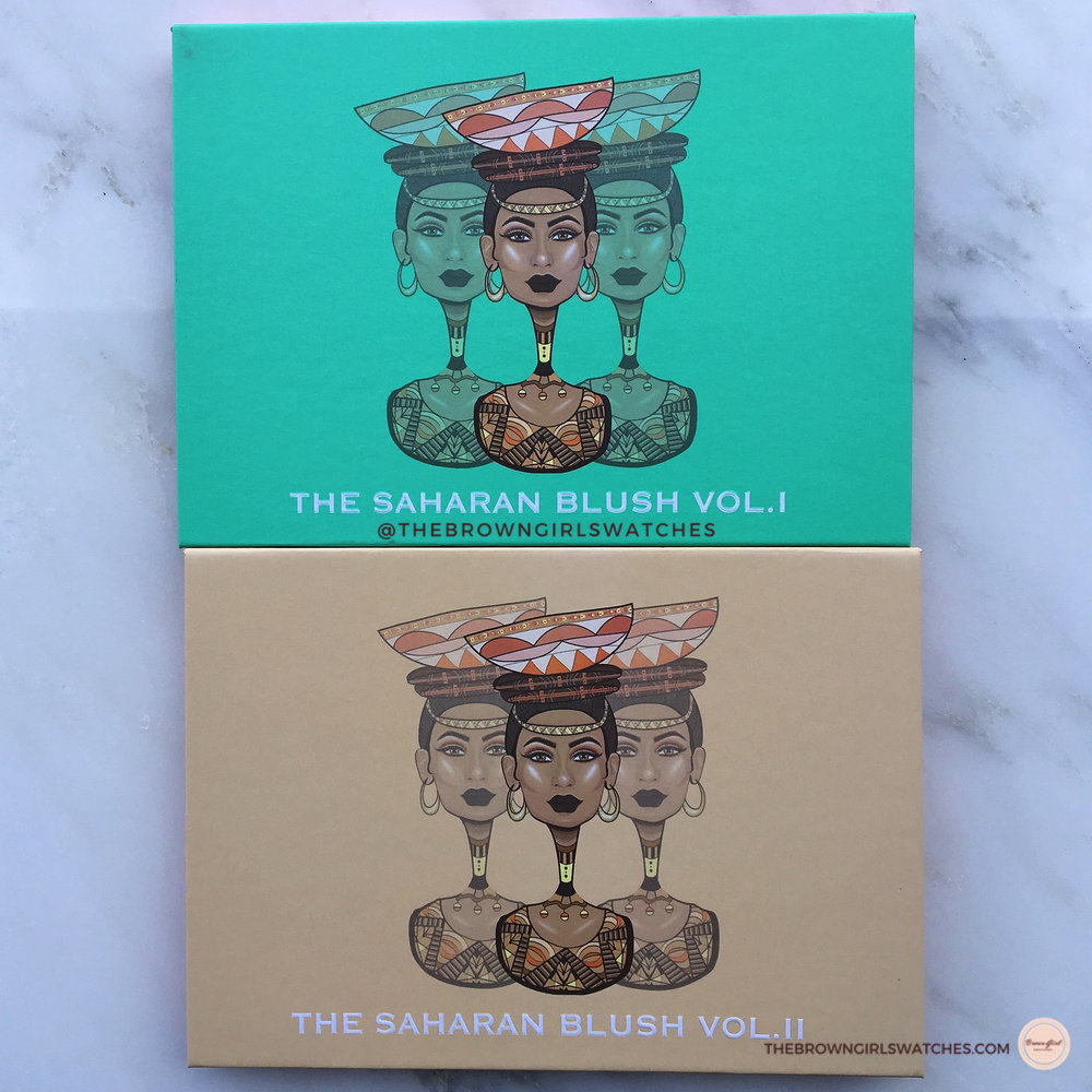 Juvia's Place Saharan Blush Palette Vol 1 and Vol 2 packaging
