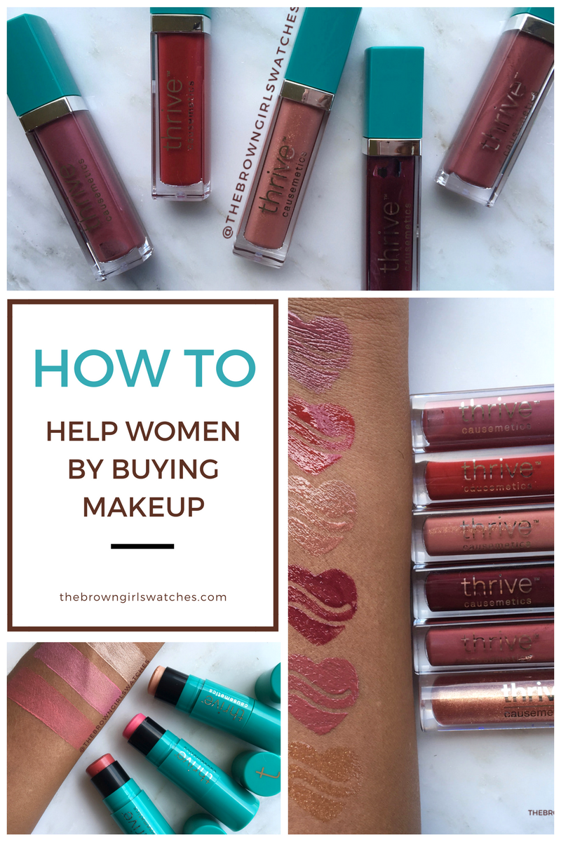 How to help Women by Buying Makeup! All about Thrive Cosmetics, Swatches, and Review on Brown Skin