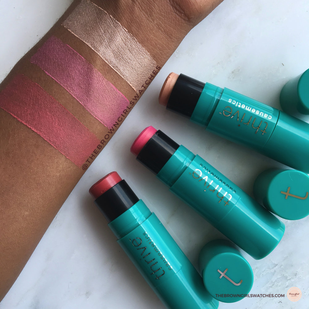 Swatches of the Triple Threat Color Stick in Joy, Maggie, and Dionne. (Top to bottom)