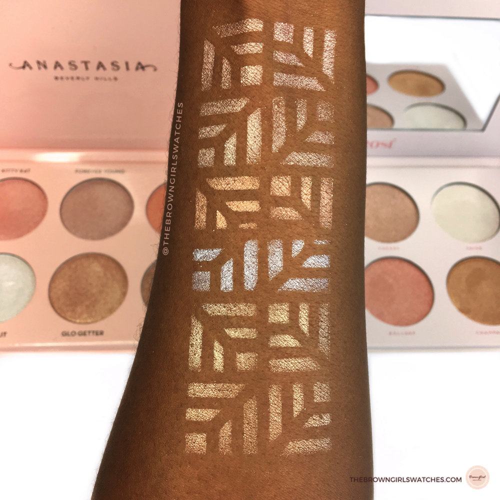 Swatches of the Anastasia Beverly Hills Nicole Guerriero Glow kit (on the left) and Bad Habit Beauty Rose Palette (on the right).