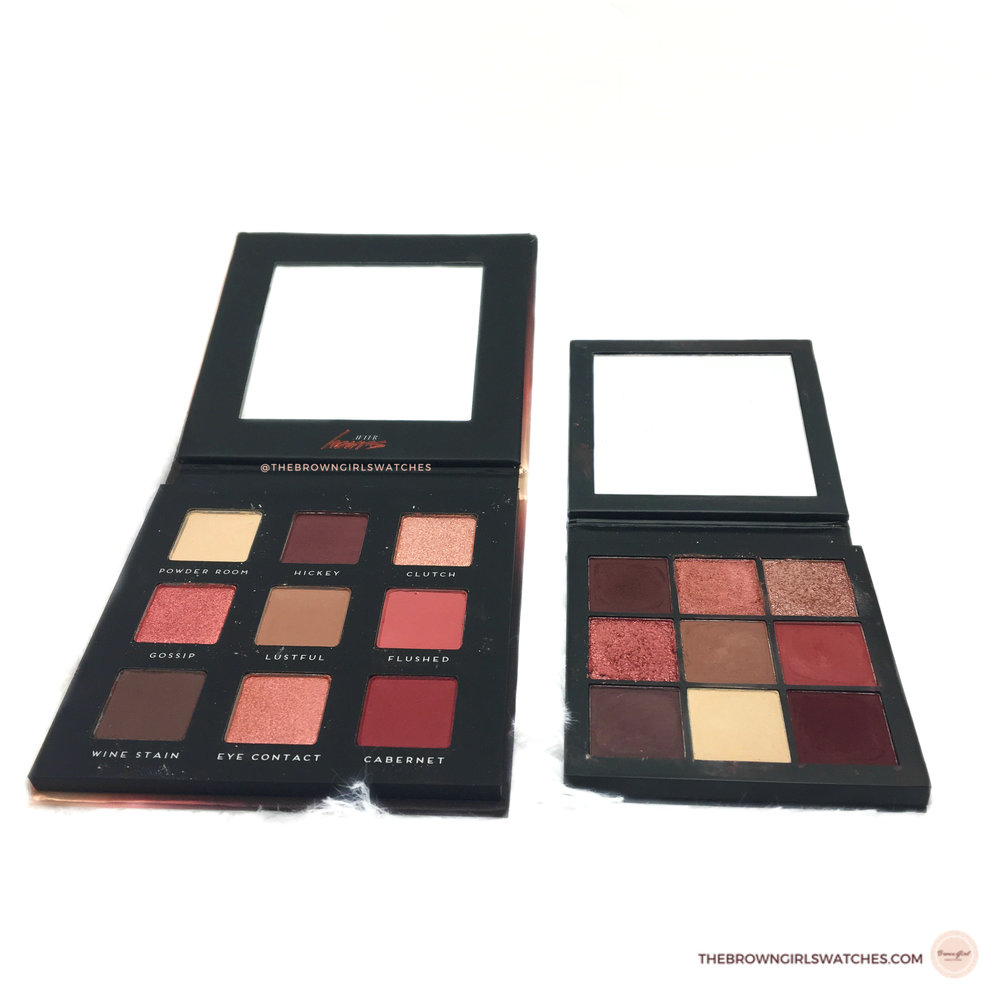 Bad Habit Beauty After Party vs Huda Beauty Mauve Obsessions Palette Mirror and Pan Size