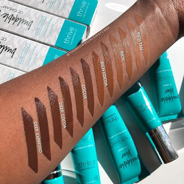 😍 #Swatches of the @thrivecausemetics Buildable Blur CC Cream 🙌🏾! First off, squad check this range. This is a beautiful non ashy assortment of CC shades for us brown girls 🥰. I am so here for the SPF 35 and vitamin C. I've worn Rich Cocoa which looked magnificent *kisses fingers* but ended up being too red for me after it completely dried down. BUT Rich looks bombbbbbb on me! I think Golden Tan may be a better match for me tho. I know hype dies down SUPER fast for products since there is ALWAYS a new release, but this is your reminder that this cc cream is still POPPINNN. Are we here for this cc cream ? Let us know your thoughts below. XO, TBGS. #thebrowngirlswatches #thrivetribe #thrivecausemetics #makeupforblackwomen #cccream #beautywithapurpose #makeupforbrowngirls #makeupforwoc #melaninpoppin #melanin