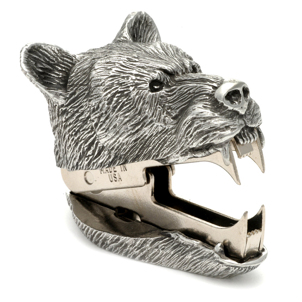SR05 Bears Growl - Staple Remover. Pewter Made in USA