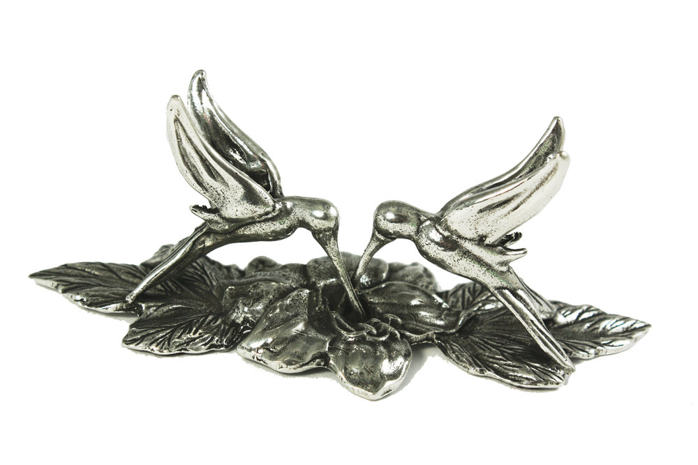 PH60 Hummingbirds Pen or Card Holder - Pewter Made in USA