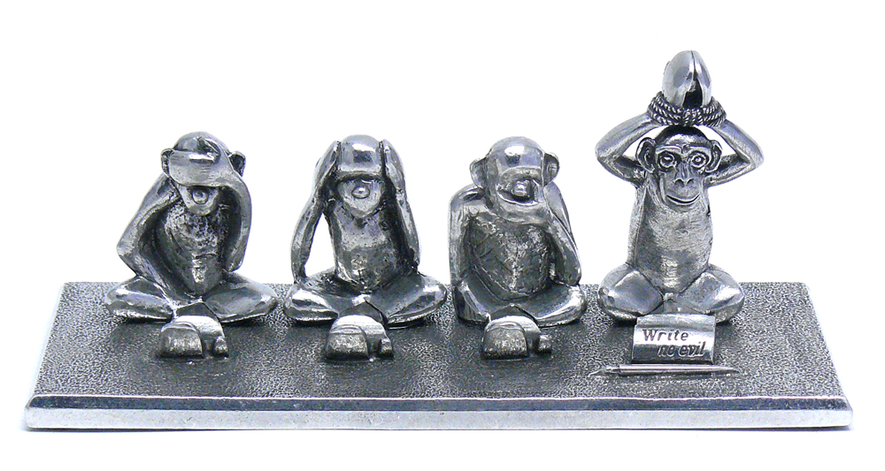 PH75 Write no Evil Pen Holder - Pewter Made in USA