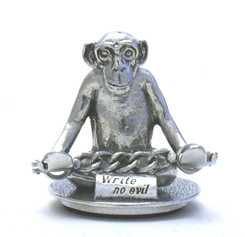 PH101D - Write no Evil Monkey Hands Down - Pewter Made in USA