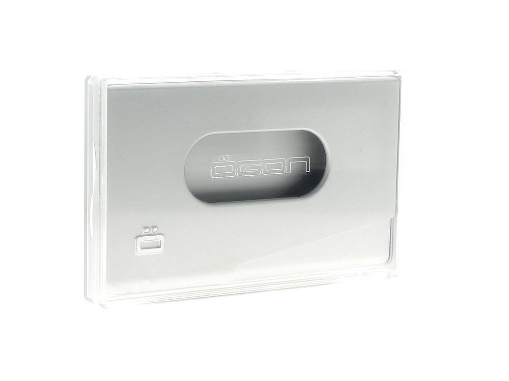 One Touch Business Card Holder - Silver
