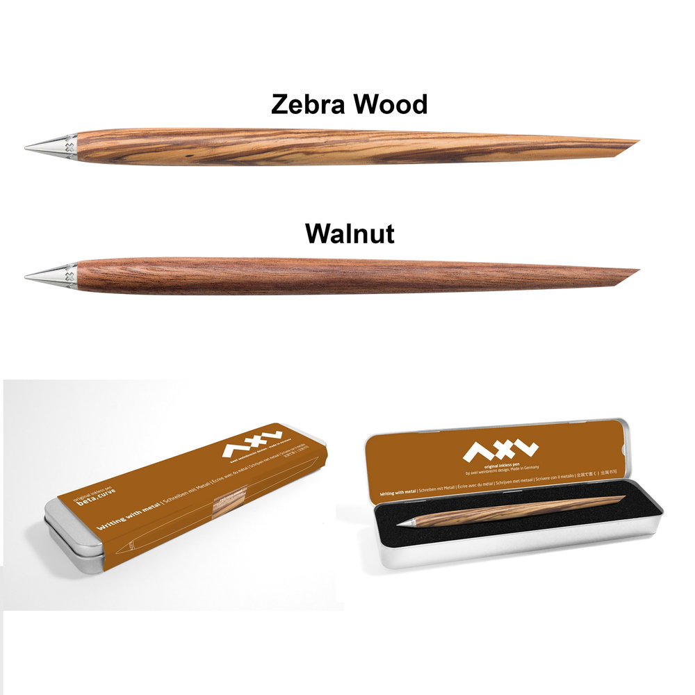 The Inkless Curve Pen   The Beta Inkless pen ( by Axel ---German precision engineering) is a Bauhaus design to the max---form follows function! Made of a slightly thicker Walnut or Zebra Wood Handle. Writing with a metal tip that is permanent, does not smudge or erase, and last virtually a lifetime of notes