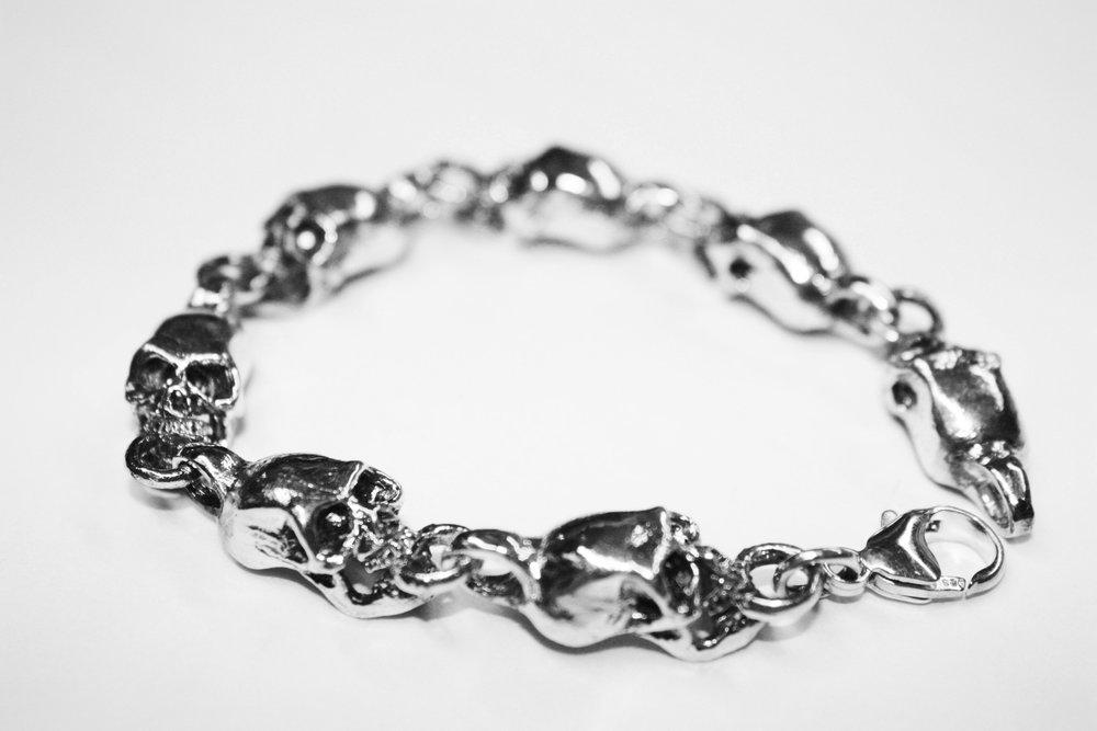 Skull Train Bracelet - Sterling Silver