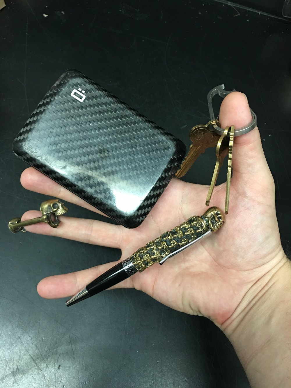 Ogon Wallet with Big Head Pen, Laughing Skull Bottle Opener and KeyKilpZ
