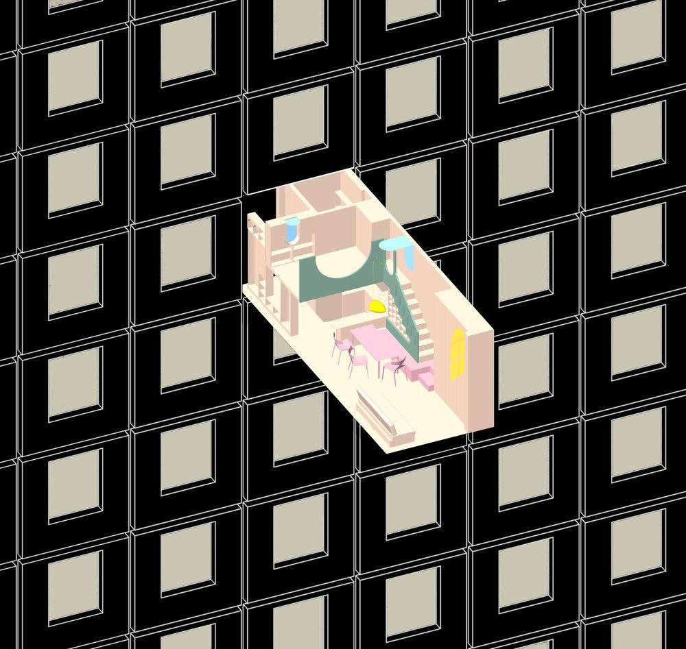 External view, a molecule in monotonous urban