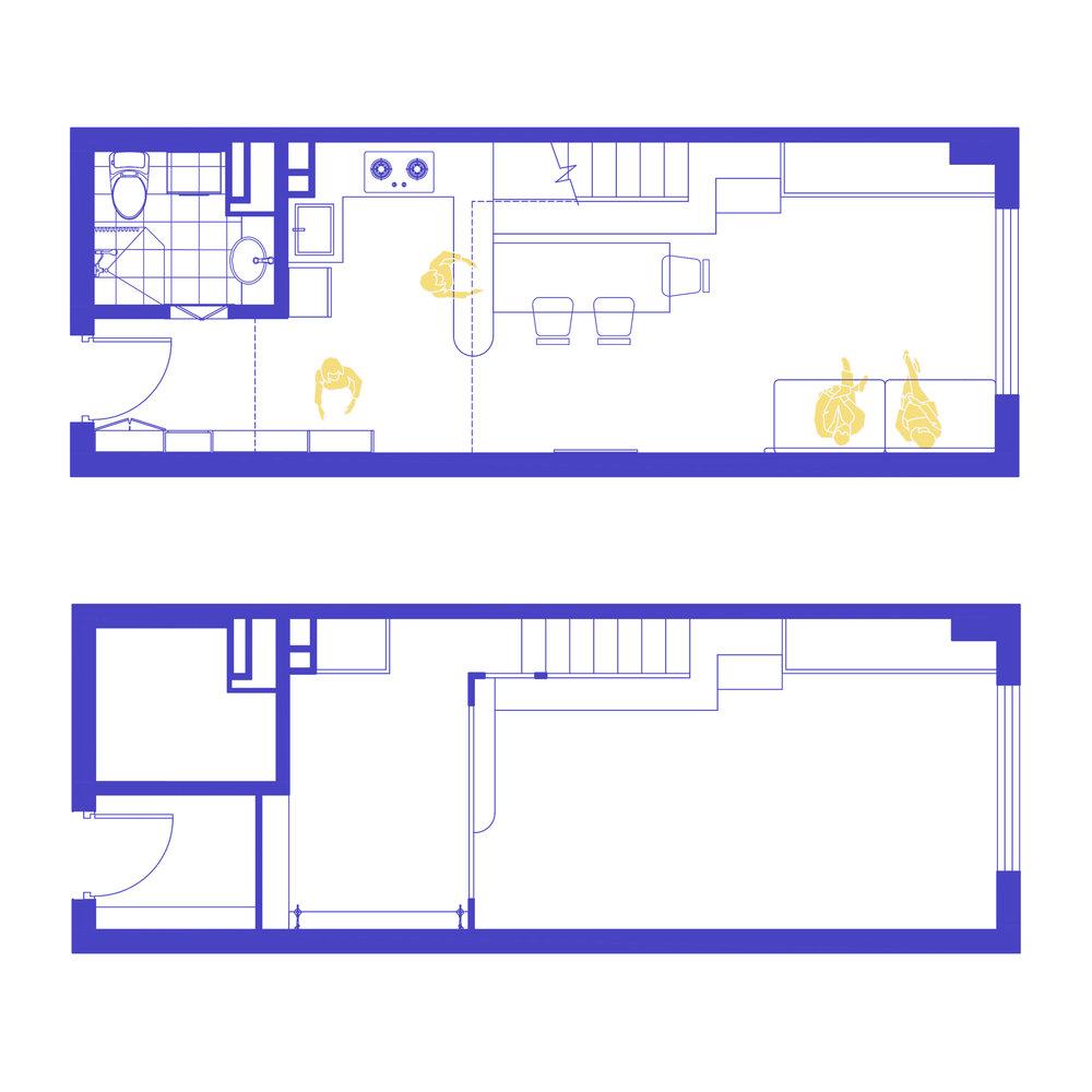 Ground floor plan  Mezzanine floor plan