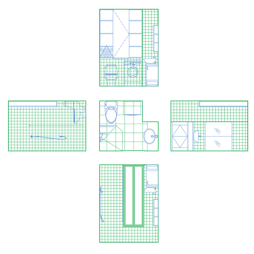 Bathroom plan and elevation