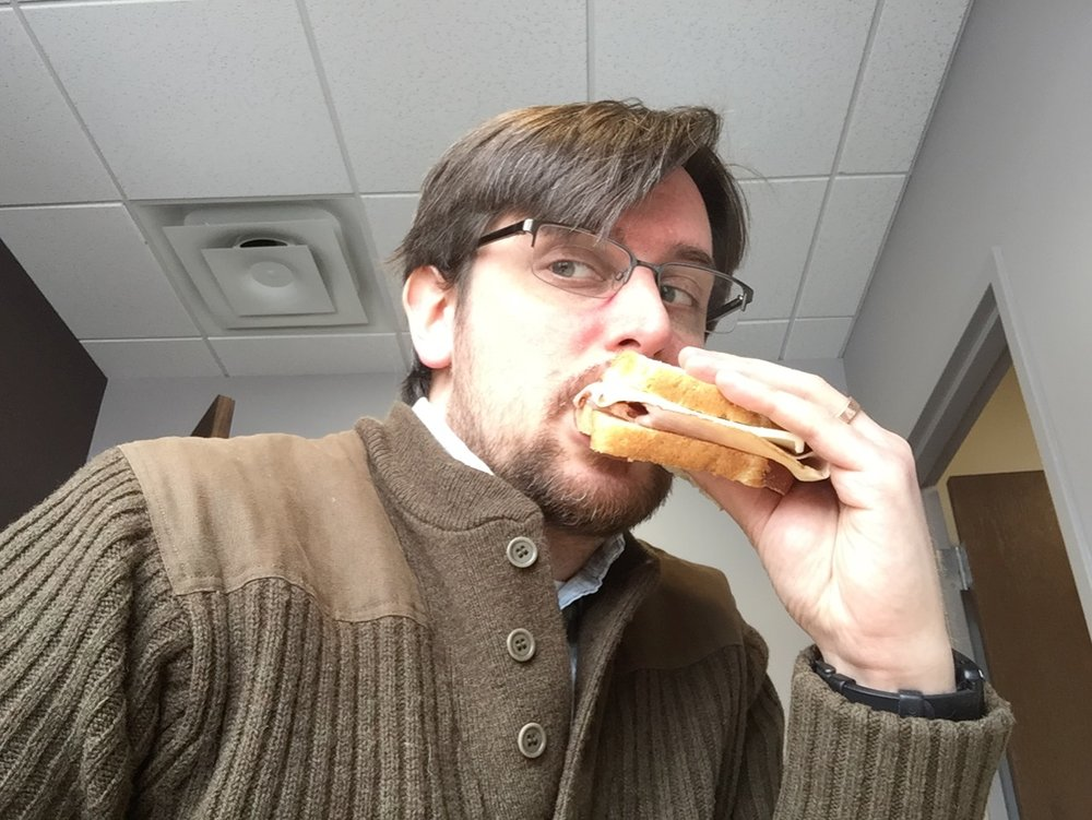 Me, eating a ham sandwich