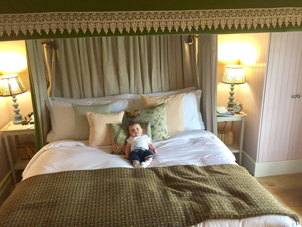 Rupert was quite taken by the Four Poster bed in our hotel!