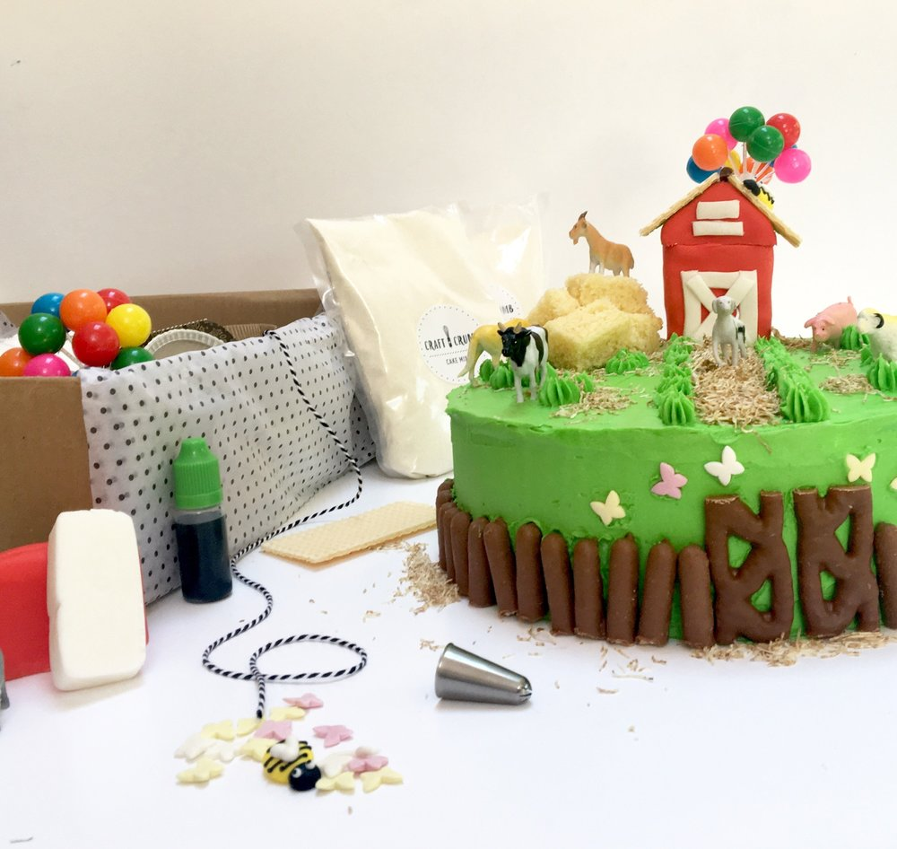 The craft and Crumb cake baking kit comes with everything you need to bake a wonderful first birthday cake. There are plenty of designs to choose from...