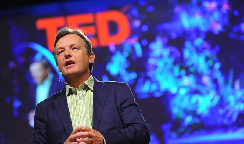 Chris Anderson on the TED stage, where he spends an enormous amount of his time.