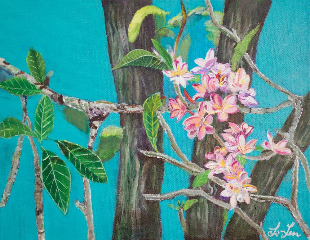 "Tropical Flowers Acrylic 11""x14"" $200"