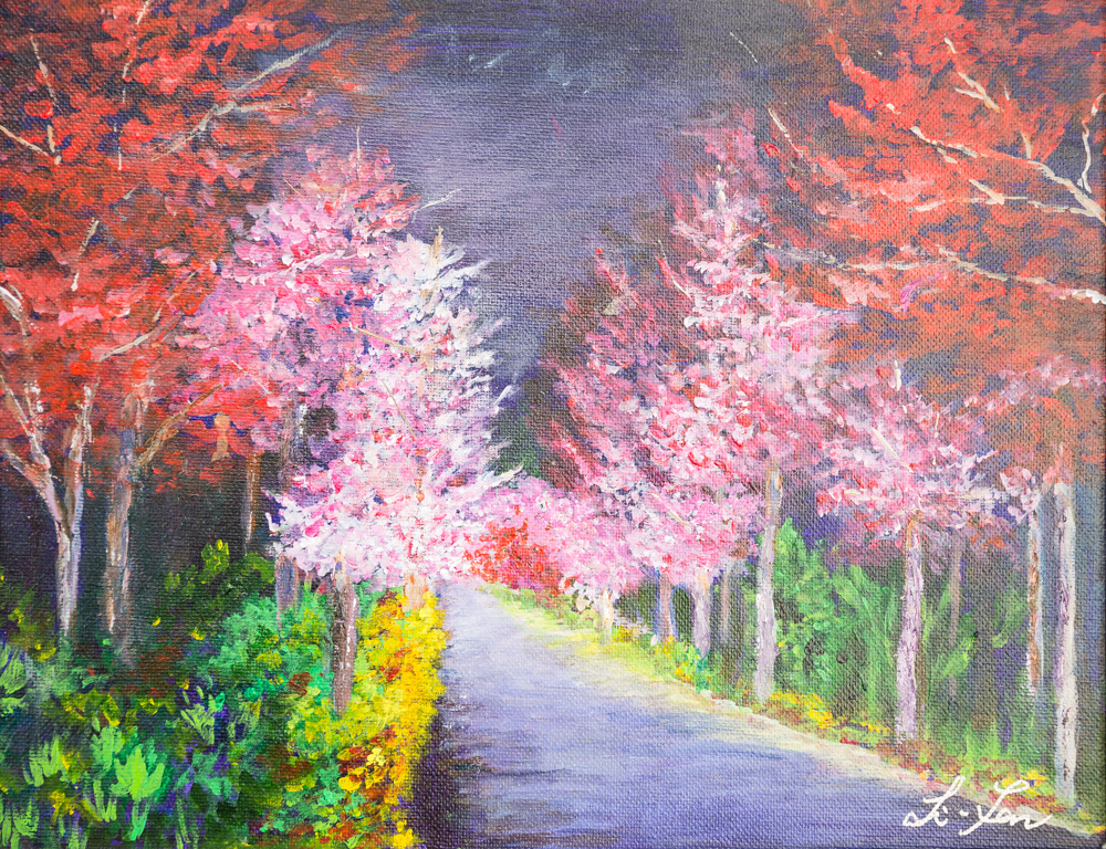 """The Beauty of Cherry Blossoms Acrylic 11""""x14"""" $200"""