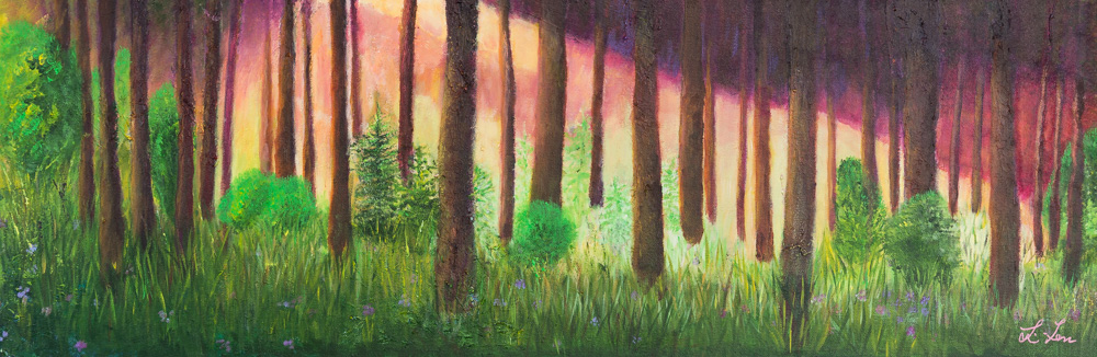 """Golden Hour in the Forest Acrylic 12""""x36"""" $390"""