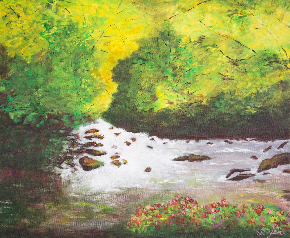 """Spring River Acrylic 20""""x24"""" $450"""