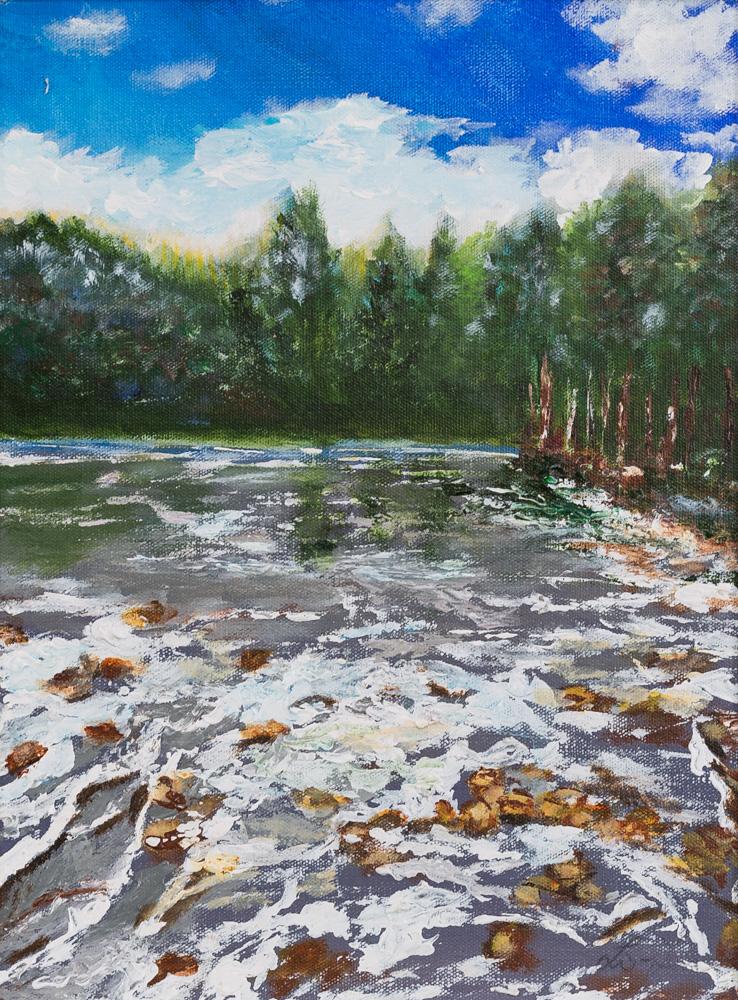 "Rushing River Acrylic 12""x16"" $250"