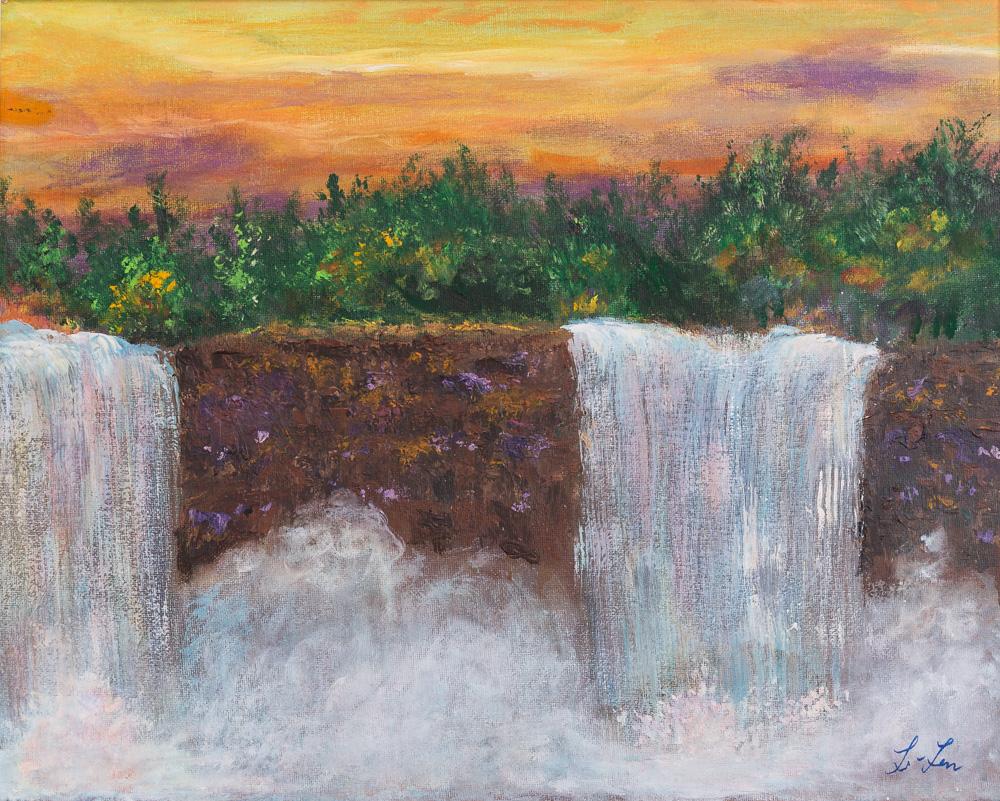 "Sunset Waterfall Acrylic 16"" x 20"" Canvas $250"